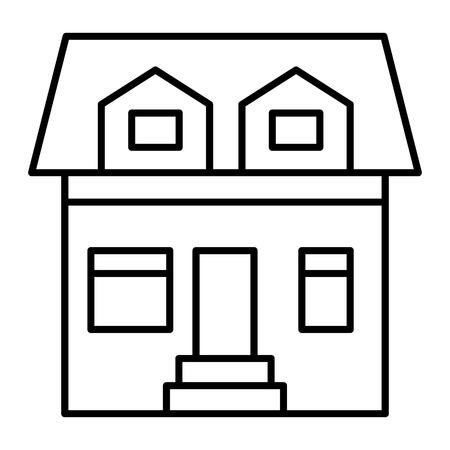 Cottage avec deux fenêtres mansardées icône fine ligne. Maison avec illustration vectorielle de grenier isolée sur blanc. Conception de style de contour à la maison, conçue pour le Web et l'application.
