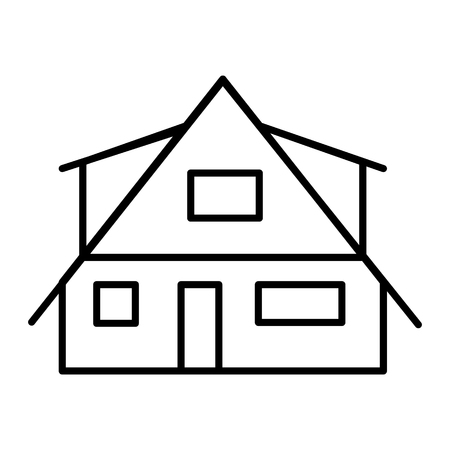 Modern cottage thin line icon. Small house vector illustration isolated on white. Rural lodge outline style design, designed for web and app.