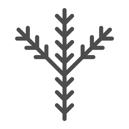 Fir tree branch line icon. Pine vector illustration isolated on white. Evergreen outline style design, designed for web and app. Eps 10
