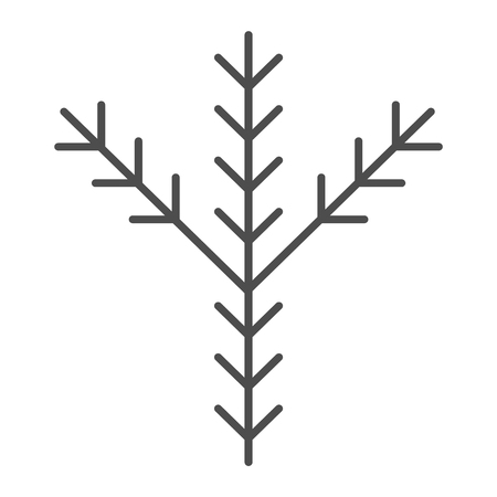 Fir tree branch thin line icon. Pine vector illustration isolated on white. Evergreen outline style design, designed for web and app. Eps 10 Çizim