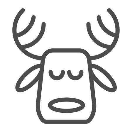 Horned deer line icon. Christmas deer vector illustration isolated on white. Moose head outline style design, designed for web and app. Eps 10 Çizim
