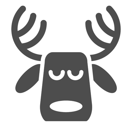 Horned deer solid icon. Christmas deer vector illustration isolated on white. Moose head glyph style design, designed for web and app. Eps 10 Çizim