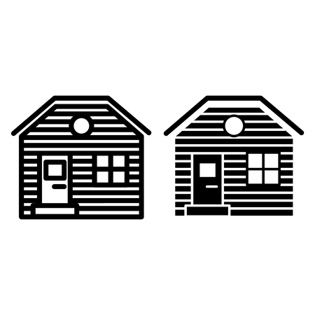 Wooden house line and glyph icon. Lodge vector illustration isolated on white. Hut outline style design, designed for web and app. Eps 10