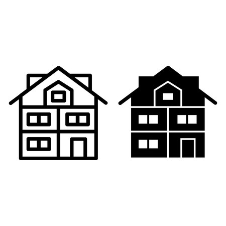 High three-story house line and glyph icon. Modern house vector illustration isolated on white. Cottage with mansard outline style design, designed for web and app. Eps 10 Çizim