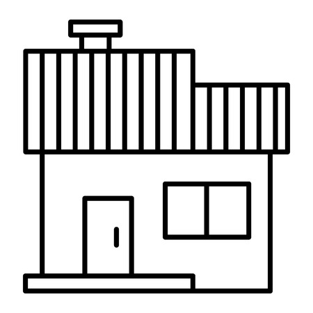 Simple cottage thin line icon. Construction vector illustration isolated on white. Small house outline style design, designed for web and app. Eps 10 Çizim