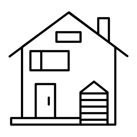 American family house thin line icon. House facade vector illustration isolated on white. Traditional american cottage outline style design, designed for web and app.