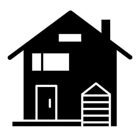 American family house solid icon. House facade vector illustration isolated on white. Traditional american cottage glyph style design, designed for web and app.