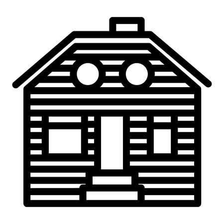Wooden house line icon. Suburban family house vector illustration isolated on white. Wooden cottage outline style design, designed for web and app. Eps 10