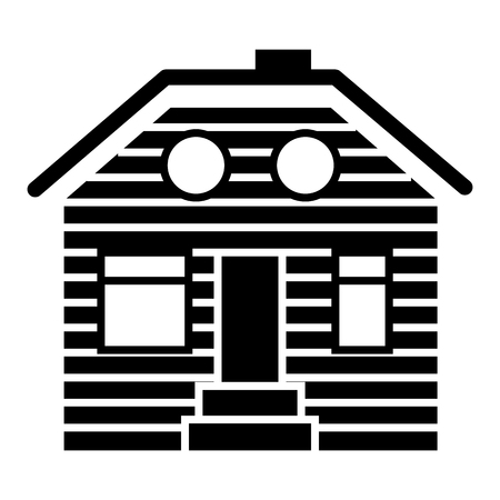 Wooden house solid icon. Suburban family house vector illustration isolated on white. Wooden cottage glyph style design, designed for web and app. Eps 10