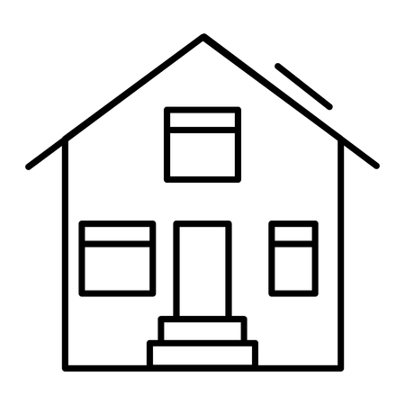 Suburban house thin line icon. House exterior vector illustration isolated on white. Cottage outline style design, designed for web and app. Eps 10 Çizim