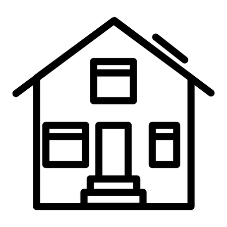 Suburban house line icon. House exterior vector illustration isolated on white. Cottage outline style design, designed for web and app. Eps 10 Çizim