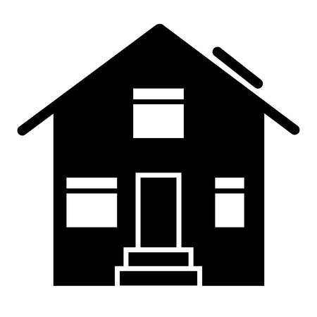 Suburban house solid icon. House exterior vector illustration isolated on white. Cottage glyph style design, designed for web and app. Eps 10