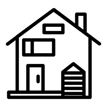 American family house line icon. House facade vector illustration isolated on white. Traditional american cottage outline style design, designed for web and app.