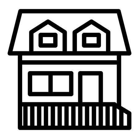 House with two mansard windows line icon. Cottage with attic vector illustration isolated on white. Home outline style design, designed for web and app.
