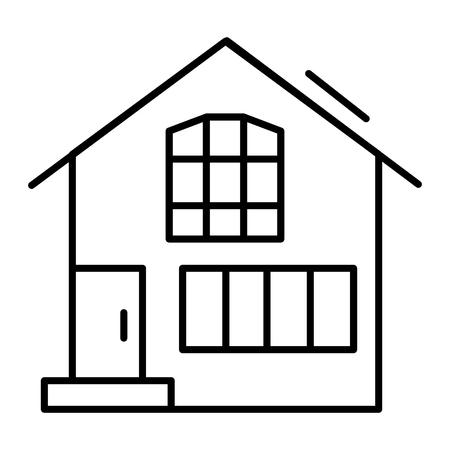 Suburban double decker house thin line icon. Gable roof house exterior vector illustration isolated on white. Cottage outline style design, designed for web and app. Eps 10