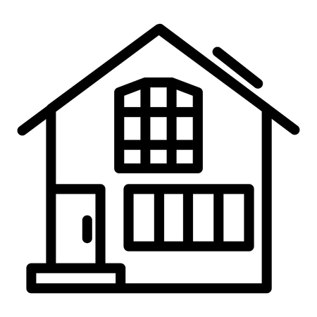 Suburban double decker house line icon. Gable roof house exterior vector illustration isolated on white. Cottage outline style design, designed for web and app. Eps 10