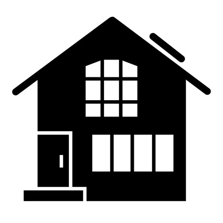 Suburban double decker house solid icon. Gable roof house exterior vector illustration isolated on white. Cottage glyph style design, designed for web and app. Eps 10