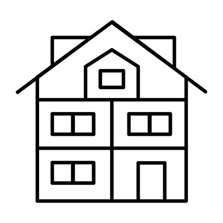 High three-story house thin line icon. Modern house vector illustration isolated on white. Cottage with mansard outline style design, designed for web and app. Eps 10