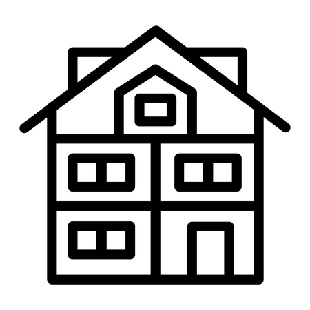 High three-story house line icon. Modern house vector illustration isolated on white. Cottage with mansard outline style design, designed for web and app. Eps 10 Çizim