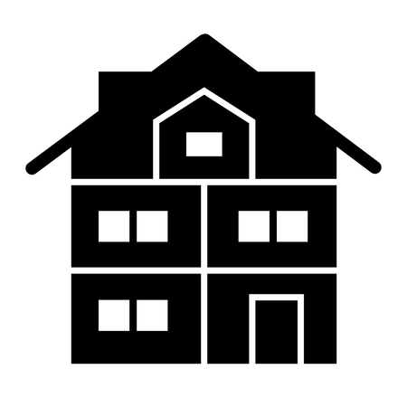 High three-story house solid icon. Modern house vector illustration isolated on white. Cottage with mansard glyph style design, designed for web and app. Eps 10