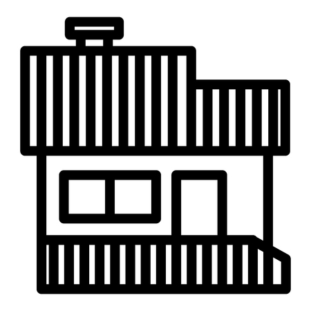 House with a veranda line icon. Hip roof house with porch vector illustration isolated on white. Cottage outline style design, designed for web and app. Illustration
