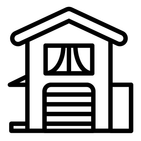 Two-storied house with garage line icon. Home vector illustration isolated on white. Suburban cottage exterior outline style design, designed for web and app.