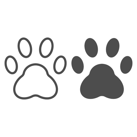 Paw line and glyph icon. Pad vector illustration isolated on white. Foot outline style design, designed for web and app. Eps 10
