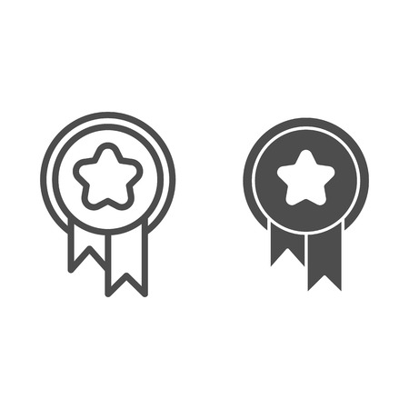 Award line and glyph icon. Medal with ribbon vector illustration isolated on white. Pet award outline style design, designed for web and app. Eps 10