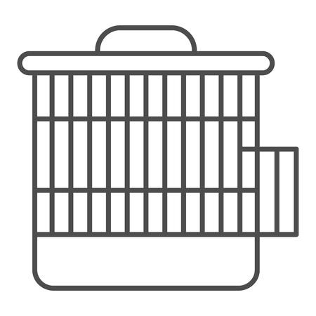 Cage pour l'icône de fine ligne humsters. Illustration vectorielle de cage animale isolée sur blanc. Conception de style de contour d'accessoire pour animaux de compagnie, conçue pour le Web et l'application. Eps 10