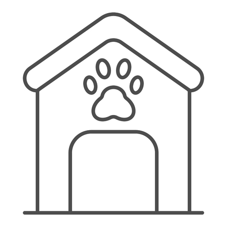 Dog house thin line icon. Dog box with paw mark vector illustration isolated on white. Animal cabin outline style design, designed for web and app. Eps 10
