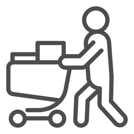 Acquirente con l'icona della linea del carrello completo. Persona con un'illustrazione completa di vettore del carrello della drogheria isolata su bianco. Design in stile contorno dello shopping, progettato per il web e l'app. Eps 10