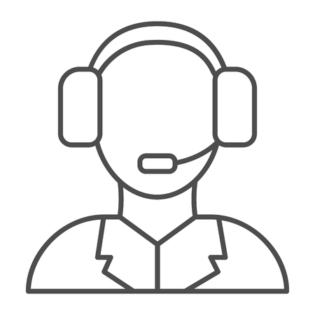 Technical support thin line icon. Call center vector illustration isolated on white. Assistance outline style design, designed for web and app. Eps 10