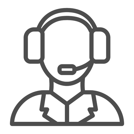 Technical support line icon. Call center vector illustration isolated on white. Assistance outline style design, designed for web and app. Eps 10