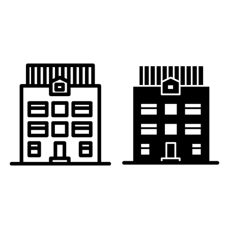 Three-story house line and glyph icon. Architecture vector illustration isolated on white. Home exterior outline style design, designed for web and app.