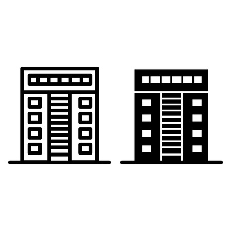 Multi-storey apartment line and glyph icon. Architecture vector illustration isolated on white. House outline style design, designed for web and app. 일러스트