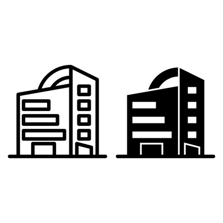 Rounded skyscrapers line and glyph icon. Office building with rounded roof vector illustration isolated on white. Architecture outline style design, designed for web and app  イラスト・ベクター素材