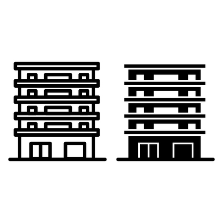 Building line and glyph icon. Apartment house vector illustration isolated on white. Multistory house outline style design, designed for web and app.