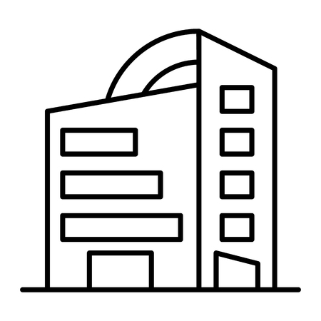 Rounded skyscrapers thin line icon. Office building with rounded roof vector illustration isolated on white. Architecture outline style design, designed for web and app  イラスト・ベクター素材