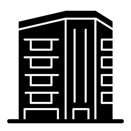 Downtown skyscraper solid icon. Architecture vector illustration isolated on white. Building glyph style design, designed for web and app.