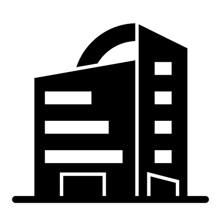 Rounded skyscrapers solid icon. Office building with rounded roof vector illustration isolated on white. Architecture glyph style design, designed for web and app.