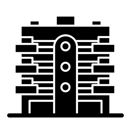 Apartment building solid icon. Multistory house with balconies vector illustration isolated on white. House glyph style design, designed for web and app.