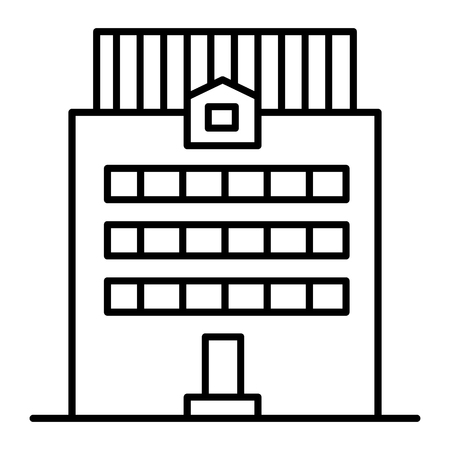 Three-story building thin line icon. Office building vector illustration isolated on white. House exterior outline style design, designed for web and app. Illustration