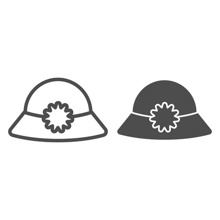 Women's hat line and glyph icon. Summer hat vector illustration isolated on white. Cap outline style design, designed for web and app. Eps 10