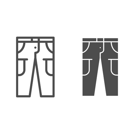 Pants line and glyph icon. Trousers vector illustration isolated on white. Jeans outline style design, designed for web and app. Eps 10
