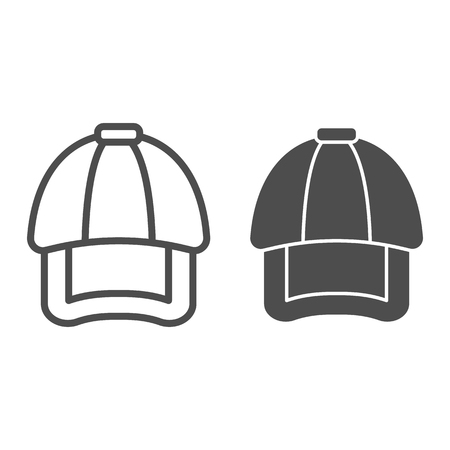 Cap line and glyph icon. Hat vector illustration isolated on white. Headwear outline style design, designed for web and app. Eps 10 Illustration