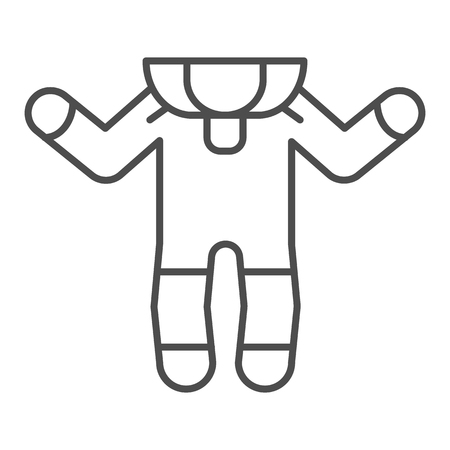 Baby romper thin line icon. Baby suit vector illustration isolated on white. Kids clothes outline style design, designed for web and app.