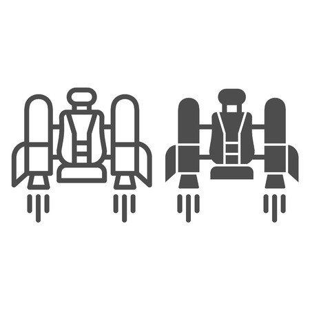 Jetpack line and glyph icon. Jetpack with a chair vector illustration isolated on white. Future technology outline style design, designed for web and app.