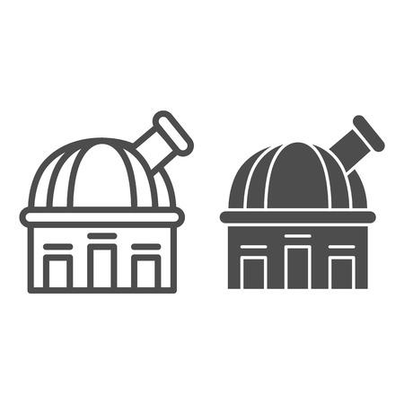 Ligne d'observatoire et icône de glyphe. Illustration de vecteur de télescope isolé sur blanc. Conception de style de contour d'astronomie, conçue pour le Web et l'application.