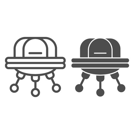 UFO line and glyph icon. Space aliens vector illustration isolated on white. Spaceship outline style design, designed for web and app. Vectores