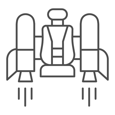Jetpack thin line icon. Jetpack with a chair vector illustration isolated on white. Future technology outline style design, designed for web and app